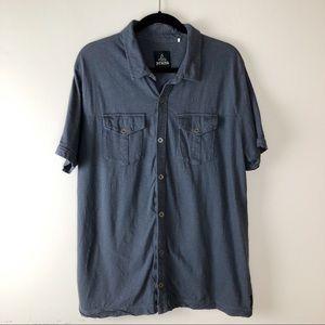 PRANA Blue Button Down Shirt Size Large